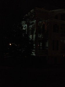 View of the 'big house' at night from the slave quarters. Photo by author.