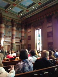 Public Historians in the historic Downtown Presbyterian Church in Nashville, TN. The conference's public plenary featured a discussion between a former Freedom Rider and the woman behind the documentary about the Freedom Rides. The plenary was held in this beautiful Egyptian Revival church.