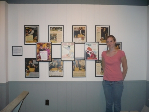 Me with an exhibit on Tobacco Auctioneers that I researched, designed, and installed along with another intern. Summer 2010.